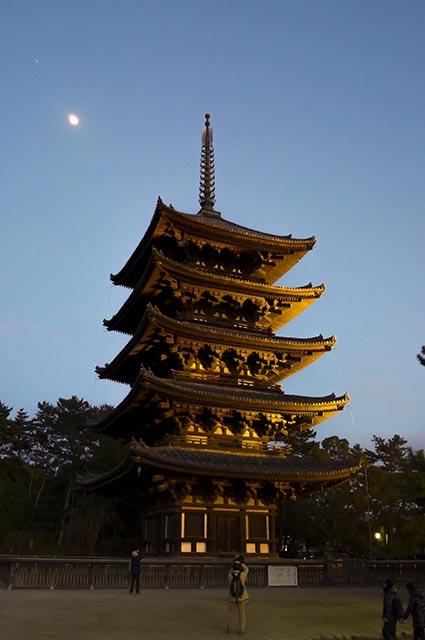 ライトアップされた興福寺五重の塔